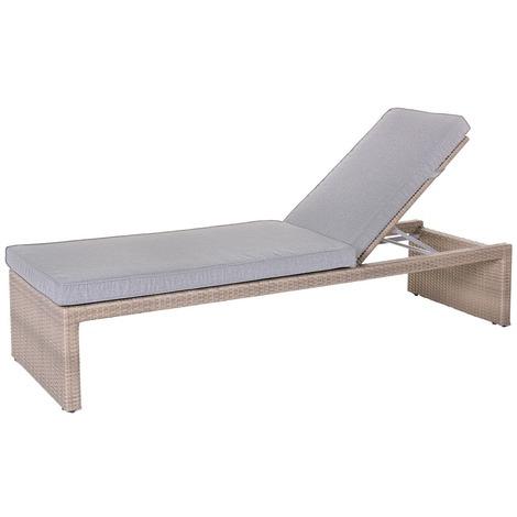 Chaise longue de jardin rotin - Marlene - Marron - 83438