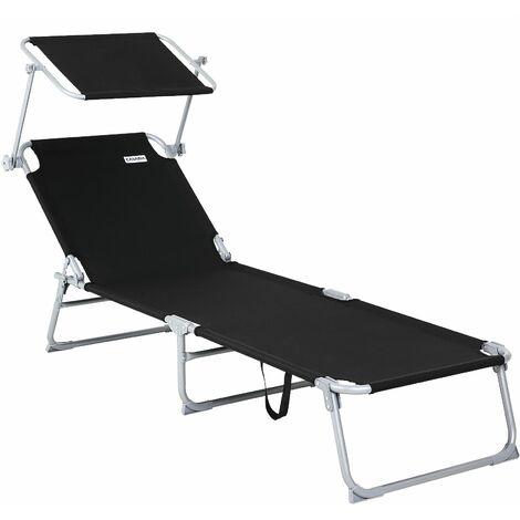 Chaise longue de jardin Transat Pliable Pare-soleil - Bain de soleil Extérieur