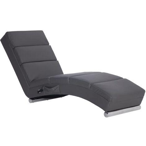 Chaise longue de massage Gris Similicuir