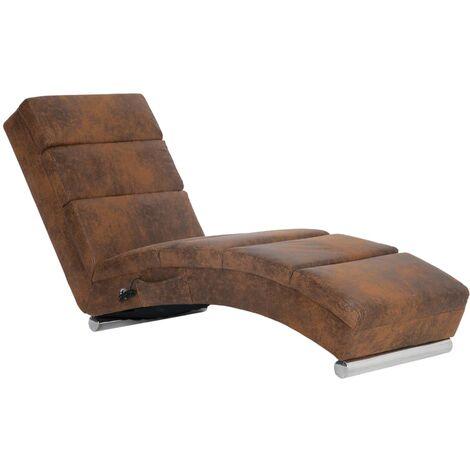 Chaise longue de massage Marron Similicuir daim