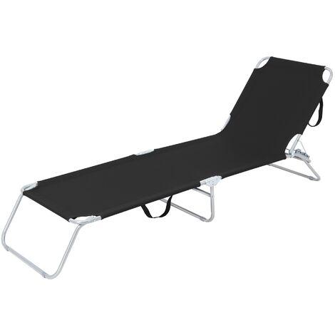 Chaise longue de plage bain de soleil noir appuie-tête réglable dans 4 positions