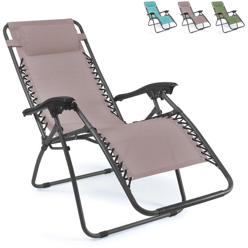 Chaise longue de plage et de jardin pliante multi positions EMILY Zero Gravity | Beige Juta
