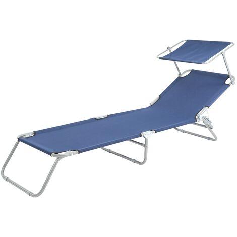 Chaise longue de plage jardin bain de soleil pliante aluminium tissu bleu 120 kg