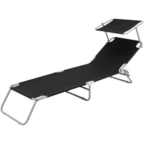 Chaise longue de plage jardin bain de soleil pliante aluminium tissu noir 120 kg