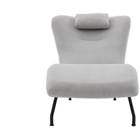 Chaise longue design velours gris clair FLOW