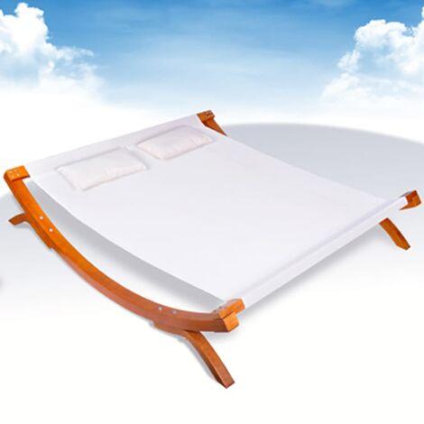 Chaise longue d'extérieur avec oreillers Bois Blanc
