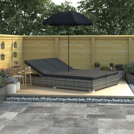 Chaise longue d'exterieur avec parasol Resine tressee Gris