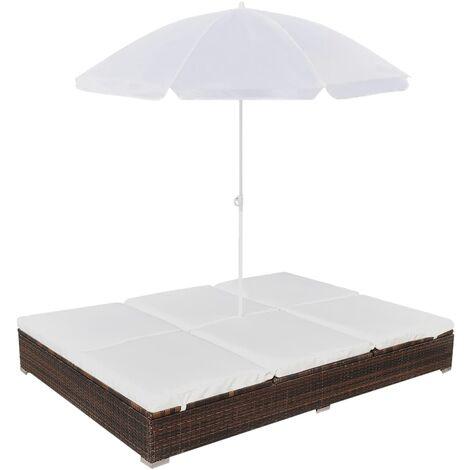 Chaise longue d'extérieur avec parasol Résine tressée Marron