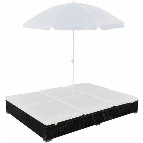 Chaise longue d'extérieur avec parasol Résine tressée Noir