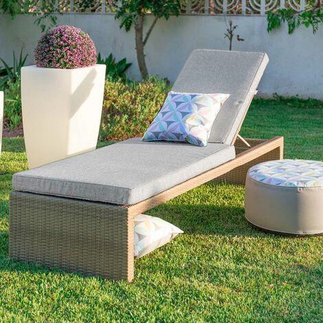 Chaise longue d'extérieur en rotin Marron/gris 200.00 cm x 66.00 cm x 43.00 cm - Marron/gris