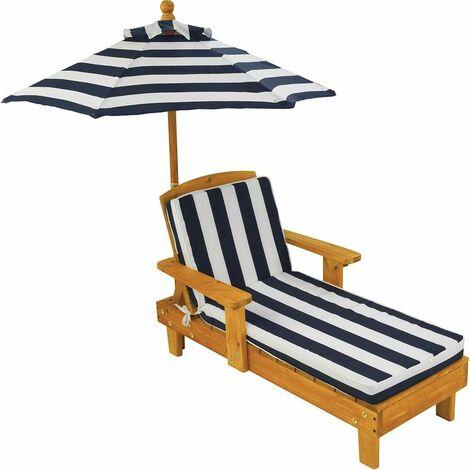 """main image of """"Chaise longue d'extérieur pour enfant avec parasol - Blanc"""""""