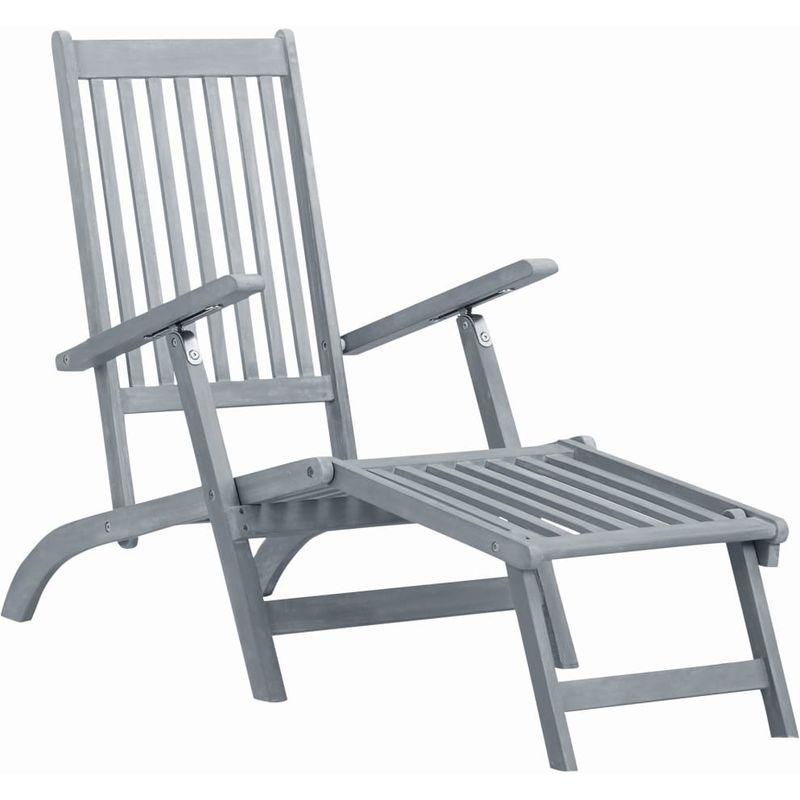 Chaise longue d'ext¨¦rieur avec repose-pied D¨¦lavage gris Acacia - ASUPERMALL