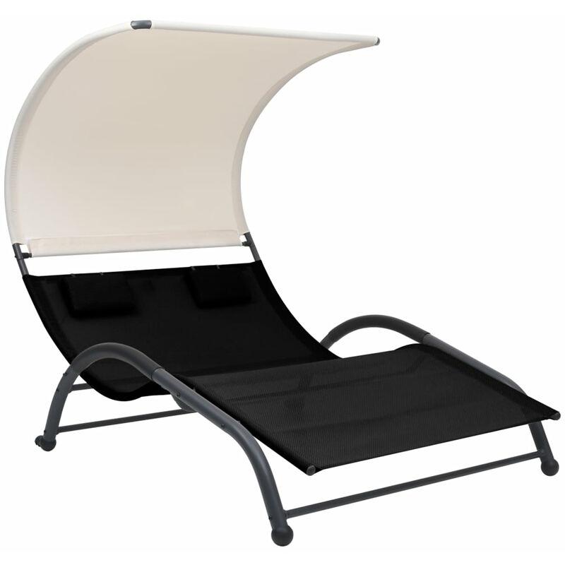 Chaise longue double avec auvent Textilene Noir