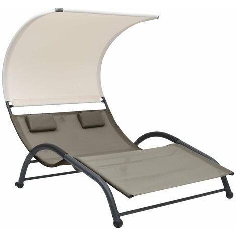 Chaise longue double avec auvent Textilène Taupe