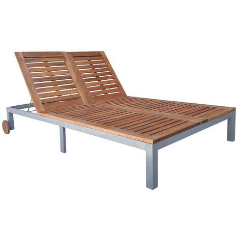 Chaise longue double Bois d'acacia solide