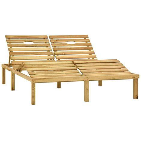 Chaise longue double Bois de pin imprégné de vert