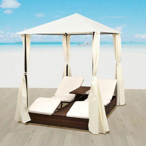 Chaise longue double d'extérieur Lit pliable de jardin avec rideaux et coussins blanc Résine tressée Marron