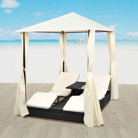 Chaise longue double d'extérieur Lit pliable de jardin avec rideaux et coussins blanc Résine tressée Noir