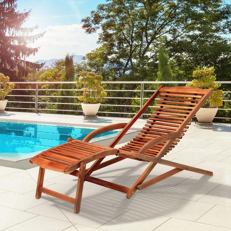 Chaise longue en bois dur d''acacia inclinable avec coussin de tête inclus