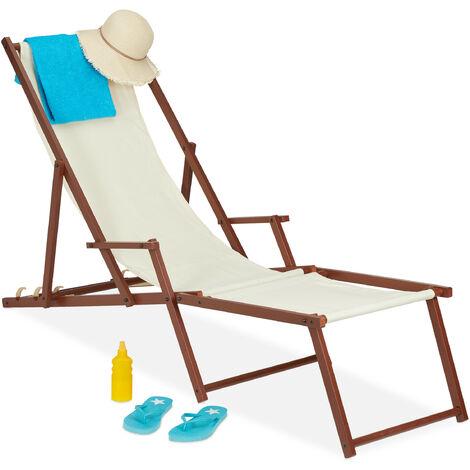 Chaise longue en bois et tissu, 3 positions allongées, transat avec accoudoirs, repose-pieds, 120 kg, beige