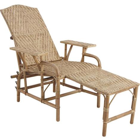 Chaise longue en lame de rotin antique, Dimensions : 76 x 175 x 60
