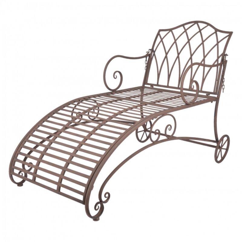 Chaise longue de jardin - L 144,5 x l 70 x H 90,3 cm - Marron - Livraison gratuite