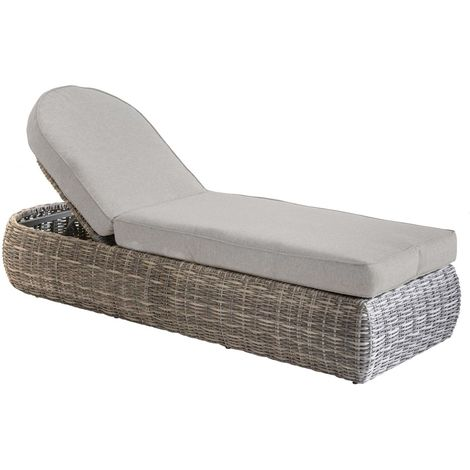 Chaise longue en résine tressée Mooréa - 5 Positions - Marron naturel - Marron
