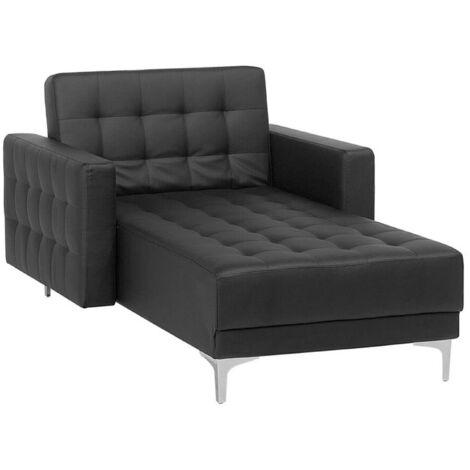 Chaise longue en simili-cuir noir ABERDEEN