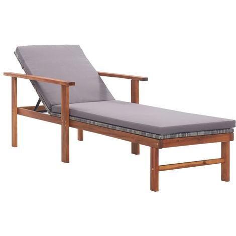 Chaise longue et coussin Resine tressee et bois d'acacia Gris