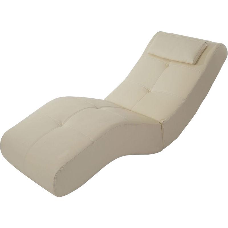 Chaise longue fauteuil lounge Livorno II, similicuir ~ cr?me
