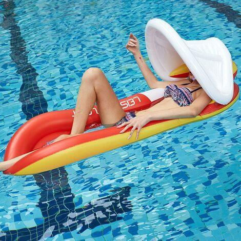Chaise Longue Flottante À l'eau, Flotteur De Piscine Gonflable avec Appui-Tête À Baldaquin Lit Flottant Amusant Chaise Flottante Beach Floaty Party Toys pour Adultes