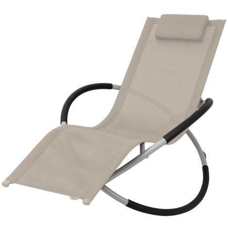 Chaise longue géométrique d'extérieur Acier Crème