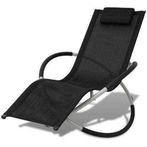 Chaise longue géométrique d'extérieur Acier Noir et gris