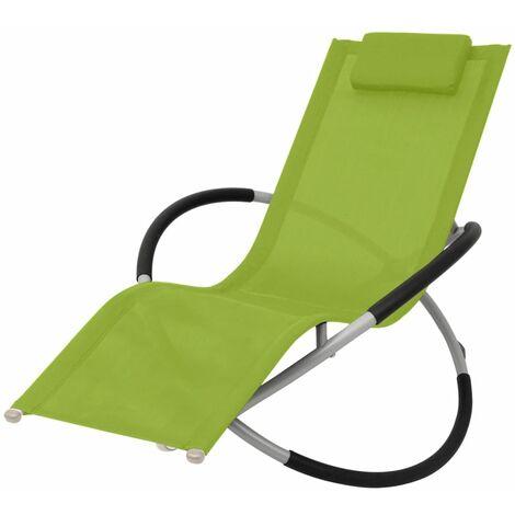 Chaise longue géométrique d'extérieur Acier Vert