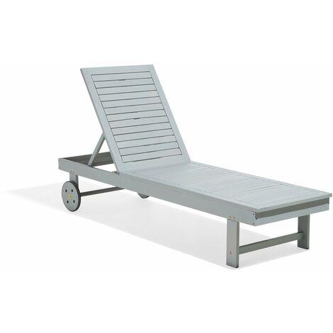 Chaise longue grise en bois inclinable et transportable