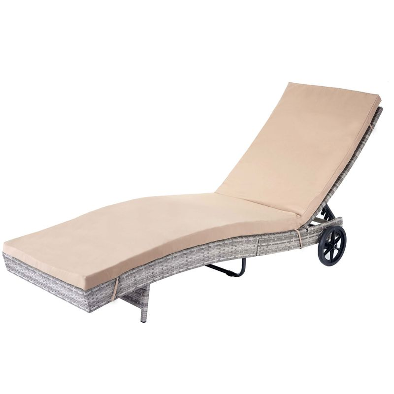 Chaise longue 456 en polyrotin ~ gris, coussin beige - HHG