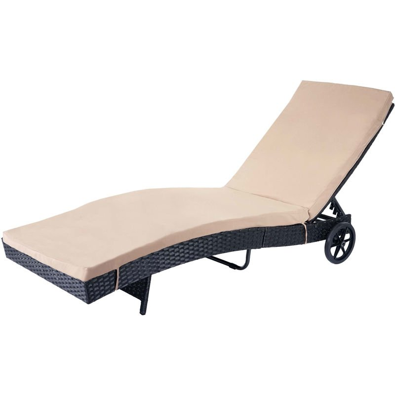 Chaise longue 456 en polyrotin ~ anthracite, coussin beige - HHG
