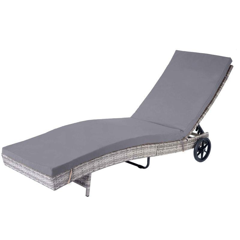 Chaise longue 456 en polyrotin ~ gris, coussin gris foncé - HHG