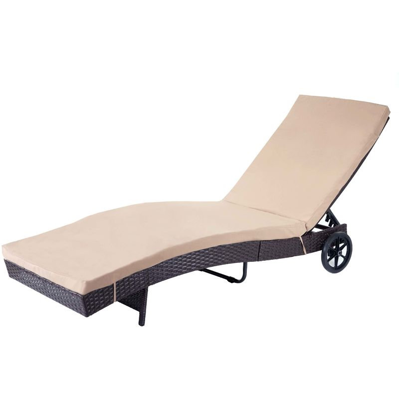 Chaise longue 456 en polyrotin ~ marron, coussin beige - HHG