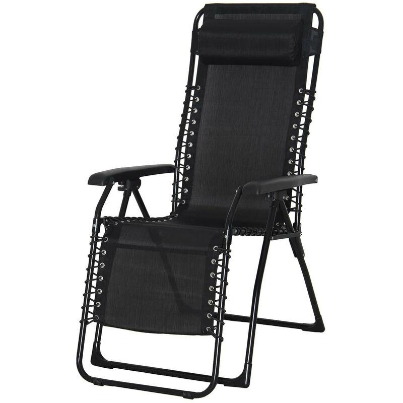 Chaise Longue Inclinable de Jardin Relax Catania Acier 65,5x91x116 cm Noir avec Coussin - chillvert