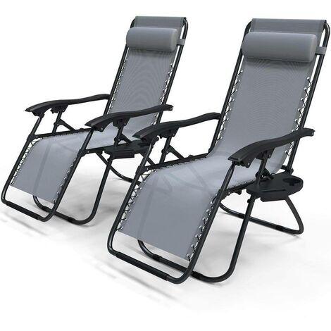 """main image of """"Chaise longue inclinable en textilene avec porte gobelet et portable"""""""