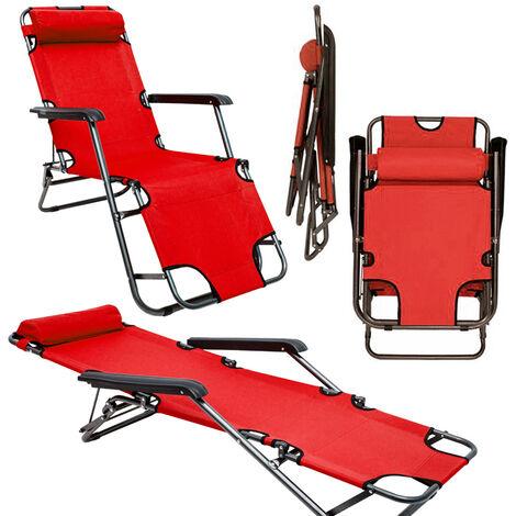 Chaise Longue inclinable et pliante | Transat de Jardin 153 cm + appuie-tête amovible + repose-jambes et dossier inclinable | Rouge