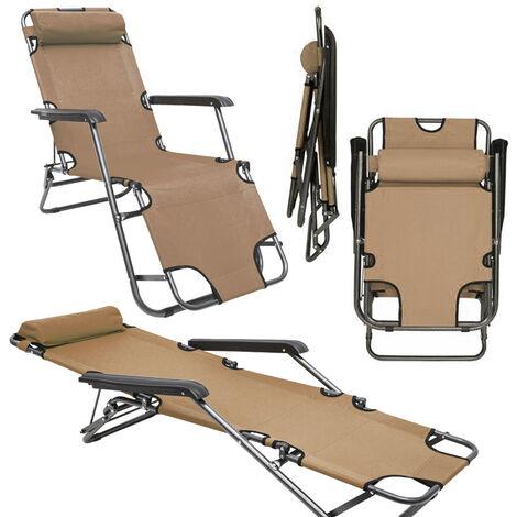 Chaise Longue inclinable et pliante | Transat de Jardin 153 cm + appuie-tête amovible + repose-jambes et dossier inclinables | Beige