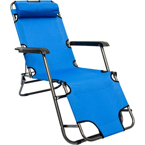Chaise Longue inclinable et pliante | Transat de Jardin 153 cm + appuie-tête amovible + repose-jambes et dossier inclinables | Bleu Clair