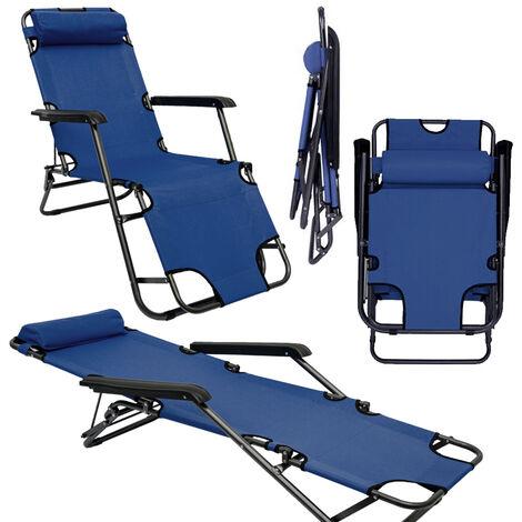 Chaise Longue inclinable et pliante |Transat de Jardin 153 cm + appuie-tête amovible + repose-jambes et dossier inclinables | Bleu Foncé