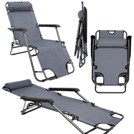 Chaise Longue inclinable et pliante | Transat de Jardin 153 cm + appuie-tête amovible + repose-jambes et dossier inclinables | Gris