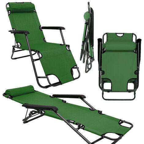 Chaise Longue inclinable et pliante | Transat de Jardin 153 cm + appuie-tête amovible + repose-jambes et dossier inclinables | Vert