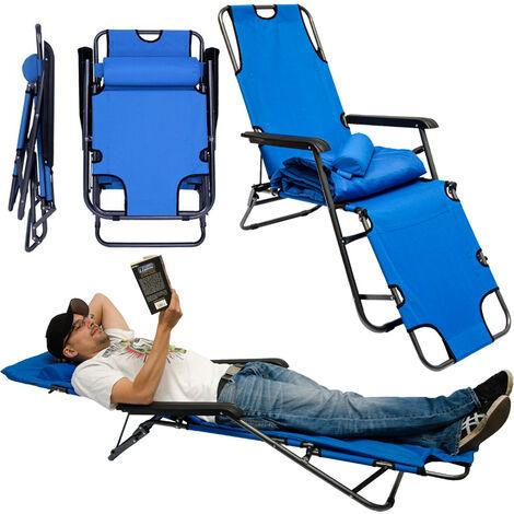Chaise Longue inclinable et pliante | Transat de Jardin avec appui-tête réglable + rembourrage 178 cm amovible + repose-jambes + dossier inclinables | Bleu