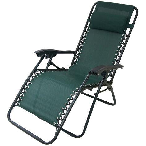 Chaise Longue Inclinable, Transat en Textilène de Jardin, 165 x 112 ...