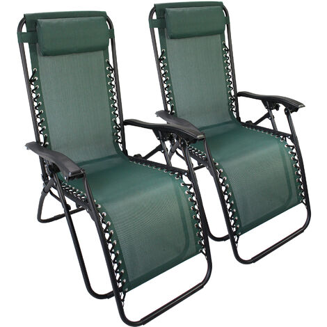 Chaise Longue Inclinable, Transat en Textilène de Jardin, 165 x 112 x 65 cm, Vert, Textilène, Pack de 2, Avec coussin, Charge maximale: 100 kg